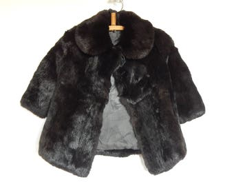 Sowjetische Vintage Kinder Mantel 4-6 Jahre Rabbit Fur Coat, Vintage russischen Mantel Retro Kinder Kleidung UdSSR Ära 1980 s.