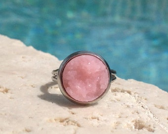 Pink druzy ring, 12 mm pink druzy ring, boho jewelry, pink adjustable ring, druzy ring, pink ring, pink jewelry, druzy jewelry, gift idea