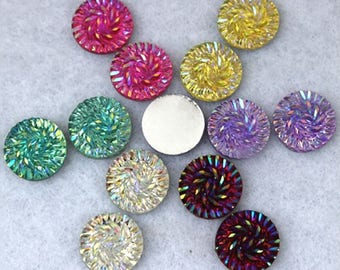 200 Piece 14MM Holographic Crystal Resin Round Flatback Druzy Rhinestones Scrapbooking Crafts Jewelry Accessories