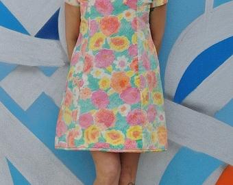 Vintage 60s Pastel Floral MOD Mini Dress
