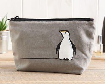 Penguin Zip Bag, Penguin Makeup Bag, Penguin Travel Bag, Penguin Pencil Case, Gift for Penguin Lovers, Penguin Lover Gifts, Penguins