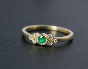 Gold Green Emerald Ring - White Diamonds - Choose Your Birthstone, Birthstone Rings