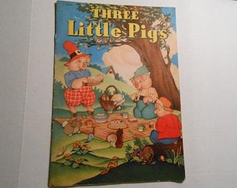 vintage Whitman linen children's book Three Little Pigs