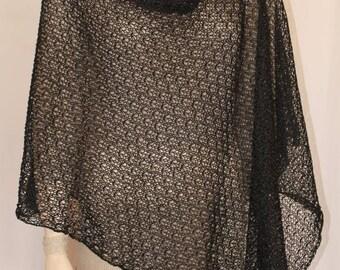 Women's poncho, black poncho scarf,linen poncho black cape black sweater knit poncho linen poncho spring poncho