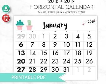 2018 + 2019 Calendario Horizontal Cactus (en inglés)   Printable Calendar   Calendario Pared Cactus Kawaii
