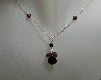 Black Onyx and Garnet Cluster Necklace with Sterling Silver Chain