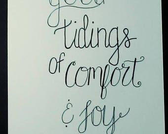Good Tidings Of Comfort And Joy Hand Lettered Wall Art