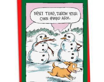 C4336XSG Snowman Arm: Humor Christmas Card, with Envelope.