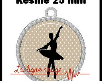 Silver cabochon pendant 25 mm round epoxy - Ballet Dance (1013) - dancer, Ballet