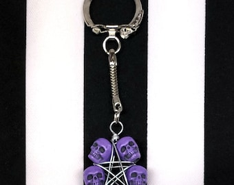 Gothic Punk Purple Skulls Wire Wrapped Pentagram Pentacle Keychain