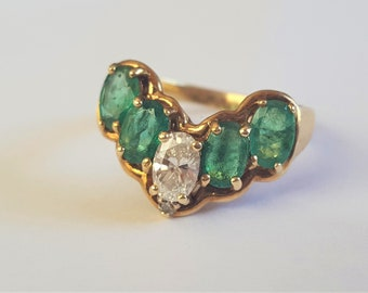 14K Yellow Gold Diamond & Emerald Ring w/ Appraisal