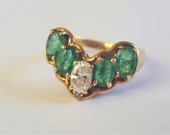 14K Yellow Gold Diamond & Emerald Ring w/ Appraisal