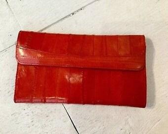 Red leather wallet / vintage eel skin wallet / 70s red wallet