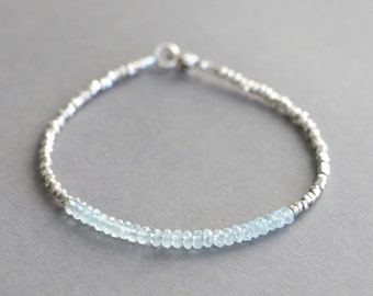 Aquamarine Bracelet Gemstone Bracelet March Birthstone Bracelet Hill Tribe Silver Bracelet Gift for Her Birthstone Jewelry