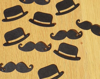 Set of 200 table confetti, shaped moustache and bowler hat