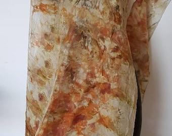 MOE ECO DESIGNS. Handmade Eco Dyed 100% silk scarf