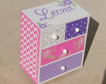 Jewelry Box for Girls Jewelry Box Personalized Pink and Purple Flower Girl Gift  Chevron