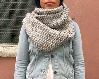 Grey Knit Long Circular Scarf