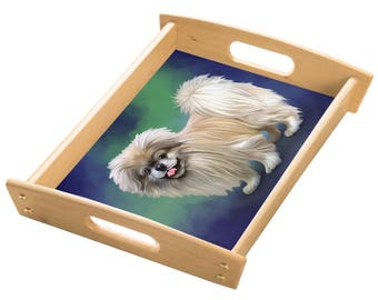 Pekingese Dog Wood Serving Tray with Handles Natural