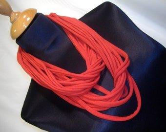 Necklace - Red jersey fabric scarf. Roll up MULTISTRAND necklace Choker.