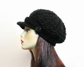 Crochet Newsboy Hat Black Newsboy Hat Black Hat with Visor Adult Newsboy cap Crochet Womens Newsboy Black Hat with Visor Black Hat with brim
