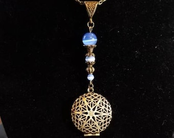"""18"""" Scent Diffuser Locket with Light Blue Cat Eye beads"""