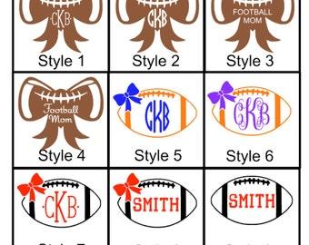 Football Bow Monogram Decal Sticker