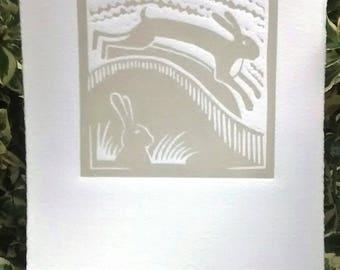 Lino cut, Handprinted, rabbit