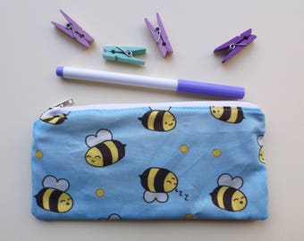 Bee Pencil Case, Bee Stationery, Kawaii Bees, Save the Bees, Cosmetics Bag, Kawaii Stationery, Zipper Pouch, Bee Gift, School Supplies