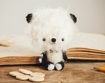 Panda bear plushie toy / stuffed animal teddy bear, miniature doll - made to order - Fuzzy Panda