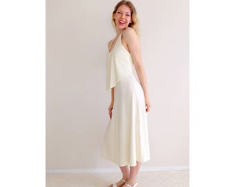 Vintage cream halter dress   pleated ruffle midi dress open back wedding bridal shower engagement   Young Edwardian by Arpeja   size small