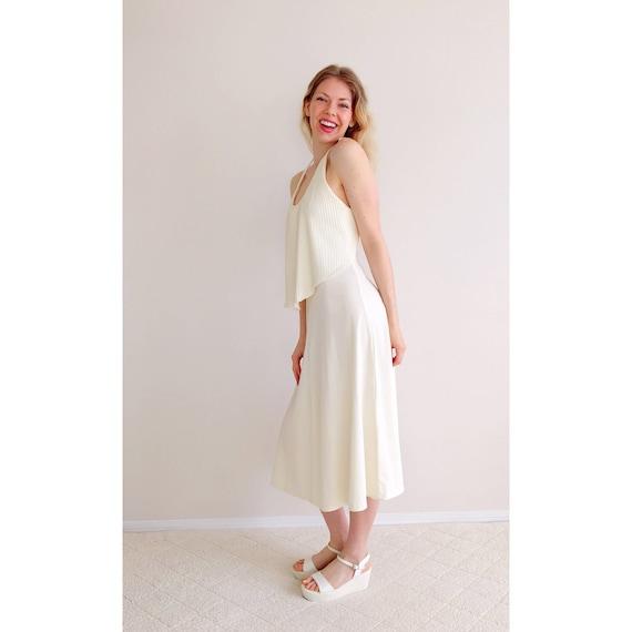 Vintage cream halter dress pleated ruffle midi dress open