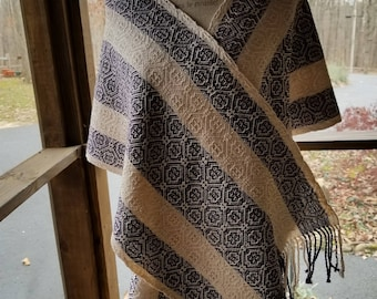 Handwoven Purple and White Fancy Twill Women's Shawl