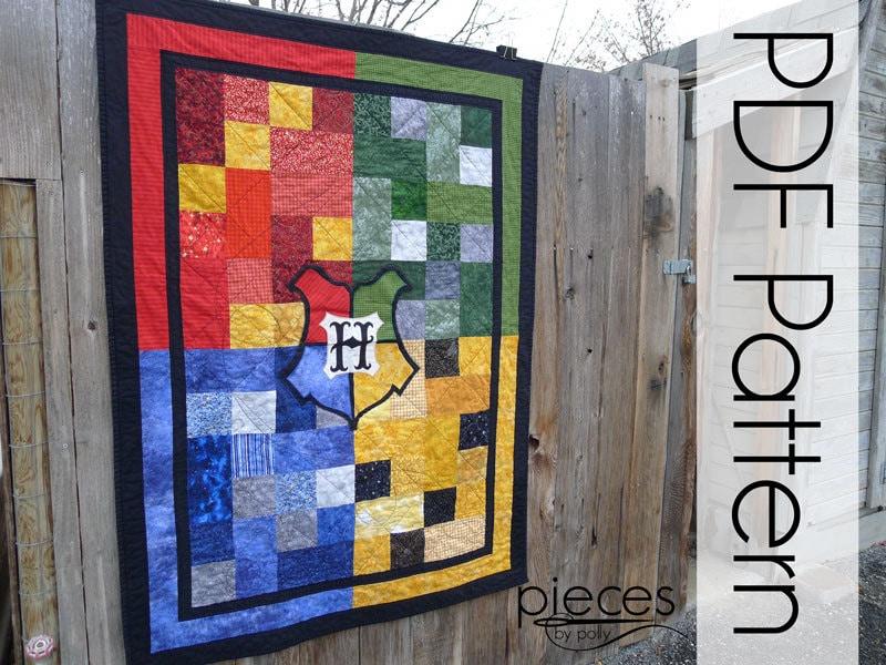WIzard School 4-House Quilt PDF Pattern Quilt Pattern : harry potter quilt - Adamdwight.com