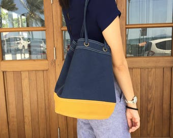 Navy/mustard Canvas Bucket Bag with Strap /Leather Handles for Daily use, Travel, Gift
