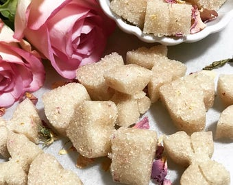 40 Organic Rose Flavored Sugar Cubes for Tea, Champagne, Heart & Butterfly Sugar Cubes, Wedding, Tea Party, Bridal Party, Hostess