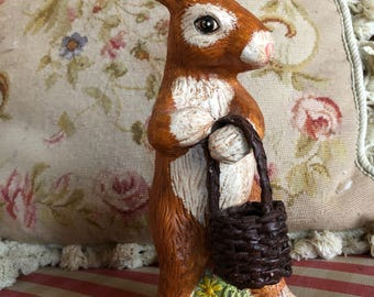 French Country Handpainted Bunny Rabbit with Basket Figurine