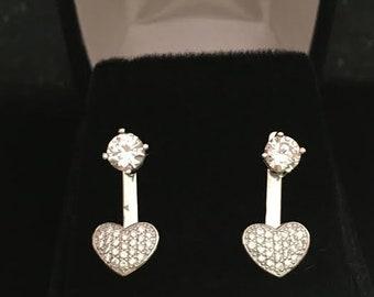 Two piece heart earrings