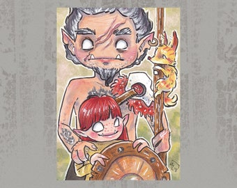 Warrior family- Original ACEO, Copic marker drawing
