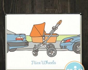 Nice Wheels -- Pregnancy/Birth/Mom/Dad/Parent card