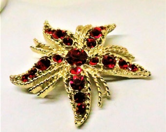 Red Brooch - Vintage, Gold Tone, Red Rhinestones, Floral Pin