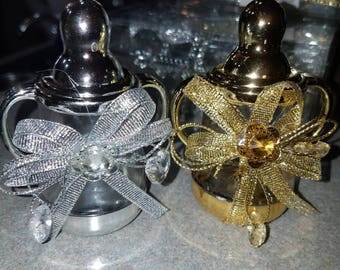 Fillable plastic gold or silver baby bottle  party favor