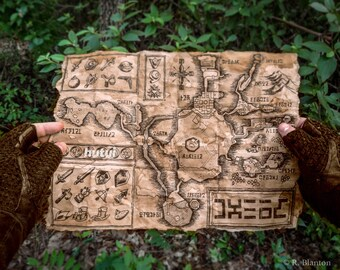 Zelda Map, Hyrule Map, Termina Map, Legend of Zelda, Ocarina of Time,  Majoras Mask, New, Aged, English or Hylian, Large and Larger