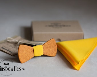 Wood bowtie Alexander Classic + pocket square. Personal engraving wooden bow ties. Men Accessories. 100% hand made. Best personal gift.