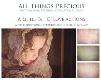 12 Actions, 8 Textures and 4 Bokeh Overlays. Fine Art Digital A Bit 'O Love Photoshop Actions Set.