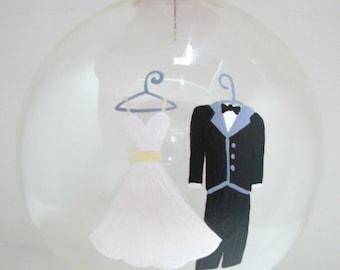 Wedding Christmas  Ornament, Handpainted Glass Ball, Handpainted Christmas Ornament,  Handpainted Ornament, Wedding Gift, Bride and Groom