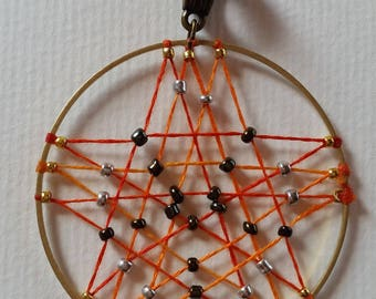 Triple pentacle pendant woven and beaded