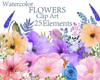 Watercolor flowers clipart Floral clipart Peonies flowers  Watercolour clipart Wedding clipart Invitation clipart Handpainted flowers