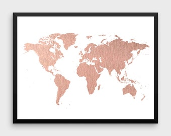 Map poster etsy rose gold world map poster large world map print faux foil map printable world map gumiabroncs Gallery