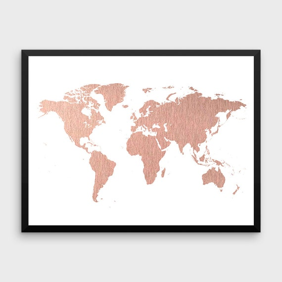 Rose gold world map poster large world map print faux foil gumiabroncs Images